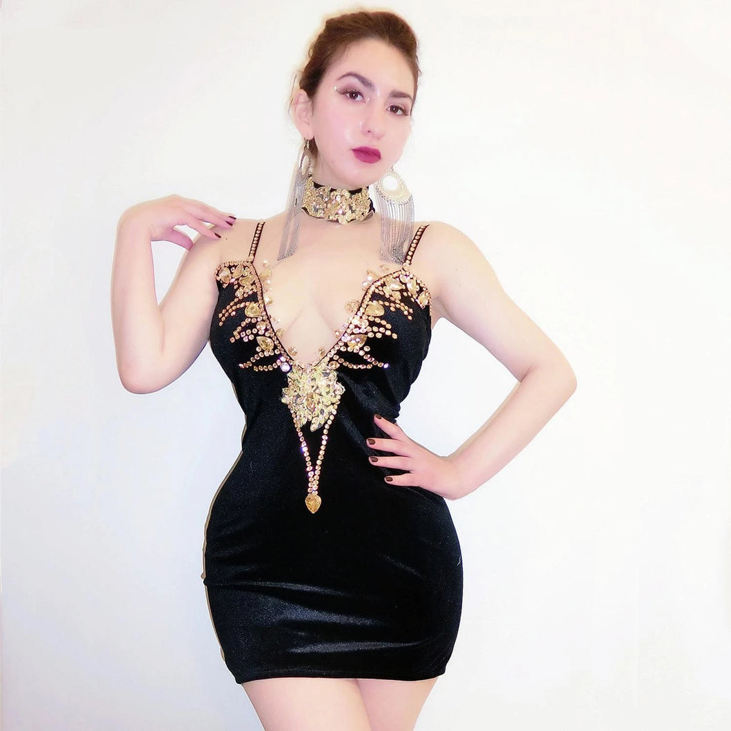 fashion black sexy gold get dressed dress lady performance birthday celebrate dress ladies singer stage show wear ; Enjoy? Worldwide Free Shipping!