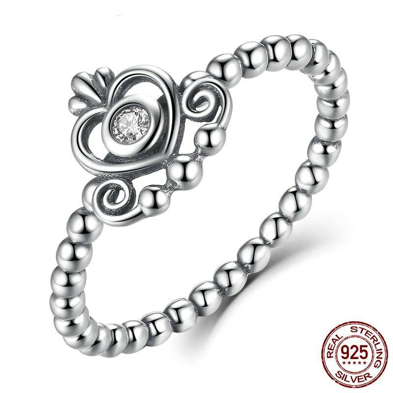 Hot Authentic 100% 925 Sterling Silver Heart Crown Clear CZ Finger Rings For Women Wedding Jewelry FIR027
