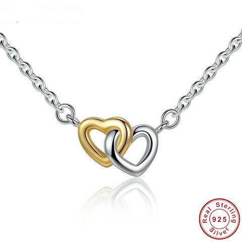 100% Real 925 Sterling Silver & Gold Color United in Love Heart Pendant Necklaces For Women Lady Original Jewelry Lover Gift