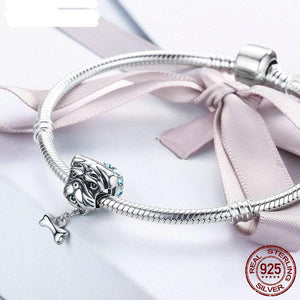 High Quality 925 Sterling Silver Bulldog Beads Fit Original WST Charm Bracelet DIY Jewelry Gift FIC187