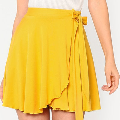 2018 Women's Summer Solid Yellow Skirts Elastic Waist Self Belted Overlap Skirt Elegant A Line Mid Waist Preppy Mini Skirt
