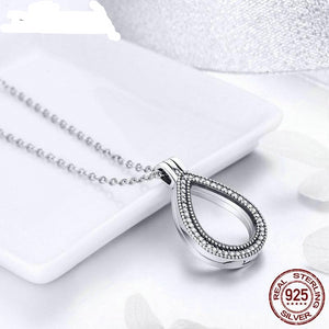 New Fashion 100% 925 Sterling Silver Water drop Floating Pendant Necklaces Fit Petite Charms For Women DIY Jewelry FIF001