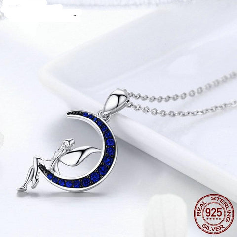 Classic Hot Sale New 925 Sterling Silve Fairy in Blue Moon CZ Pendant Necklace For Women Jewelry Fashion Gift FIN244