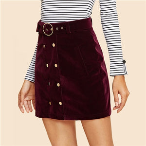 Maroon Double Button Belted Velvet Skirt Vintage Mid Waist Short Mini Skirts Women Autumn Elegant Plain Sheath Bottoms