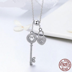Real 925 Sterling Silver The Key of Heart Lock Pendant Necklace For Women Girlfriend Wife Brand Jewelry Gift FIN290