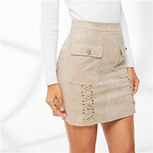 Load image into Gallery viewer, Khaki Elegant Workwear Solid Lace Up Dual Flap Pocket Grommet Crisscross Suede Skirt Autumn Office Lady Women Short Skirts