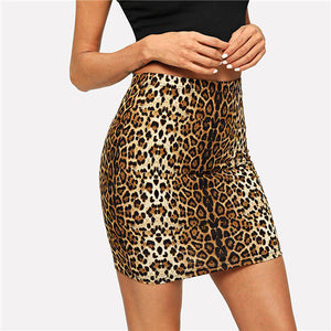 Multicolor Leopard Print Bodycon Skirt Casual Mid Waist Zipper Night Out Mini Skirts Women Autumn Elegant Workwear Skirt