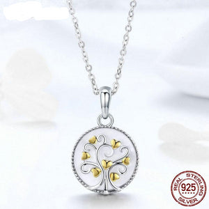 New Arrival 925 Sterling Silver & Gold Color Tree Of Life Pendant Necklace For Women Female Luxury Jewelry Gift FIN296