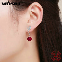 Load image into Gallery viewer, High Quality Real 925 Sterling Silver Sacred Fruit, Red Crystal Drop Earrings for Women Silver Earing Jewelry Gift FIE356