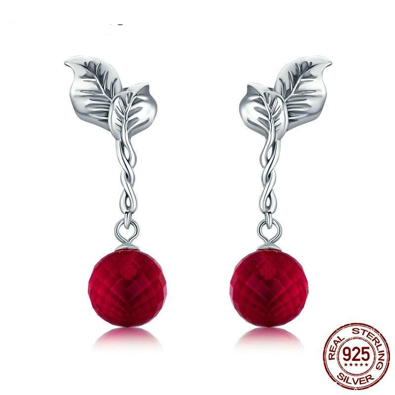 High Quality Real 925 Sterling Silver Sacred Fruit, Red Crystal Drop Earrings for Women Silver Earing Jewelry Gift FIE356