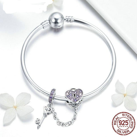 Hot Fashion 925 Sterling Silver Heart Lock Beads Charm Bangles & Bracelet For Women Sparkling Unique Jewelry Gift FIB820