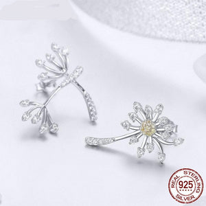Hot Sale 100% 925 Sterling Silver Dandelion Fly Stud Earrings For Women Engagement Wedding Romantic Fresh Jewelry FIE506