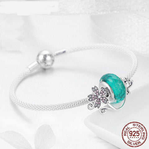 925 Sterling Silver Green Murano Beads Pink Flower Charm Bangles & Bracelet For Women Elegant Silver Jewelry Gift ; Enjoy? Worldwide Free Shipping!