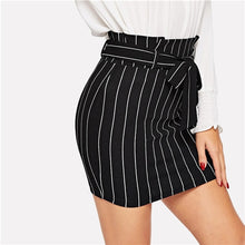 Load image into Gallery viewer, Black and White Paperbag Waist Belted Pinstripe Bodycon Skirt Women Summer Casual Workwear Office