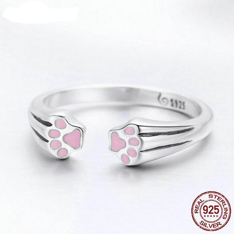 Real 925 Sterling Silver Cute Pet's Footprints Finger Rings For Women Luxury S925 Silver Ring Jewelry Gift FIR366