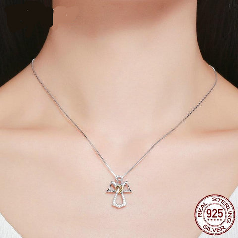 2019 New Arrival 925 Sterling Silver Guardian Angel Chokers Necklaces for Women Fashion S925 Pendant Jewelry Gift FIN123