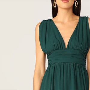 Sexy Green Plunging Neck Zip V Back High Split Ruched Summer Party Dress Women Fit And Flare Solid 2019 Glamorous Dresses