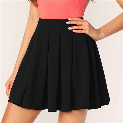 Black Zip Back Boxy Pleated Solid Mid Waist Flared Mini Skirts Womens Summer 2019 A Line Elegant Casual Workwear Skirt
