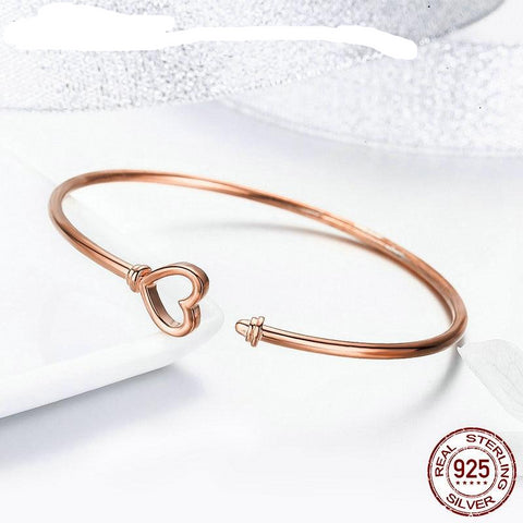 Heartlock Rose Gold Heart Bracelets 925 Sterling Silver Open Bangles For Women Wedding Engagement Elegance Jewelry FIB130