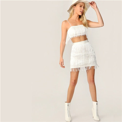 Sexy White Fringe Detail Cami Crop Top and Layered Bodycon Skirt 2 Piece Set Women Summer Solid Club Party Two Piece Set