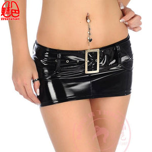 Plus Size Shiny PVC Leather Skirt Low Waist Hot Sexy Clubwear Wetlook Miniskirt Kawaii Mini Falda Gothic Pencil Skirts Streewear