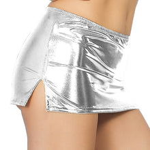 Load image into Gallery viewer, Skirts Club Sexy Low-Waist Split Sexy Micro Mini Faux Fur Patent Leather Glitter Skirt
