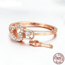 Load image into Gallery viewer, Classic Lock Of Love Ring 925 Sterling Silver Love You Lock Key Rose Gold Rings Clear CZ Finger For Women Jewelry FIR501