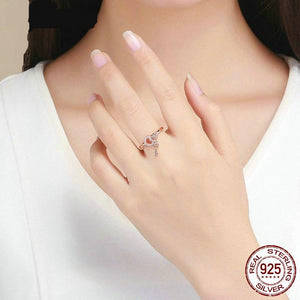 Classic Lock Of Love Ring 925 Sterling Silver Love You Lock Key Rose Gold Rings Clear CZ Finger For Women Jewelry FIR501