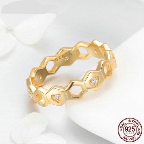 Genuine Real 925 Sterling Silver Gold Color Linked Heart Stackable Ring for Women Authentic Engagement Jewelry FIR449