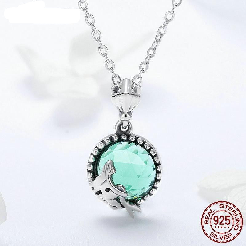 New Trendy 925 Sterling Silver Love of Mermaid Pendant Choker Necklace For Women Fashion kolye Jewelry Gift FIN262
