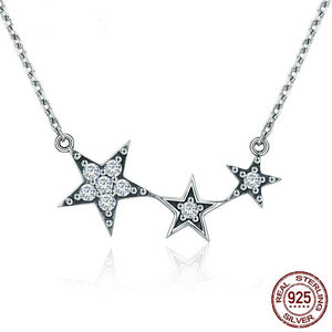 Real 925 Sterling Silver Sparking CZ Exquisite Stackable Star Pendant Necklace For Women Luxury Brand Jewelry Gift FIN215