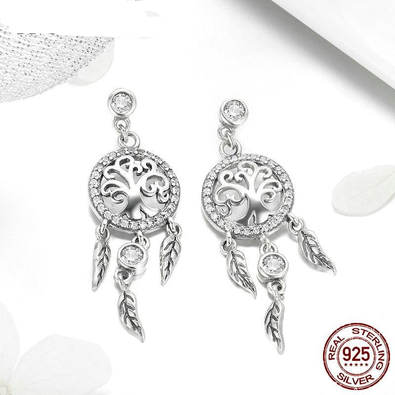 New Arrival 925 Sterling Silver Dreamcatcher Drop Earrings For Women Female Brand Luxury Earring Jewelry Gift FIE457