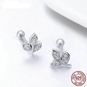 100% 925 Sterling Silver Tiny Leaves Clear CZ Stud Earrings For Women Girl Trendy Fashion Silver Jewelry Gift FIE431