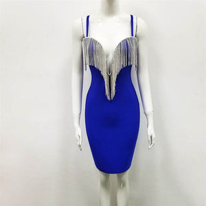 New Bandage Dresses Spaghetti Strap Vestido Sexy V Neck Tassel White Bandage Dress Women Summer Mini Party Dress