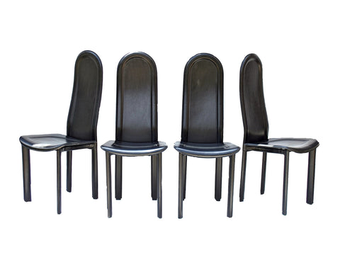 Set of ARTEDI Chairs in Black Leather