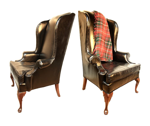 Wingback Chairs in Black Leather. (SOLD)