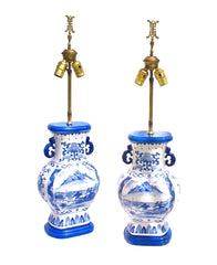 Delft Blue Lamp Pair