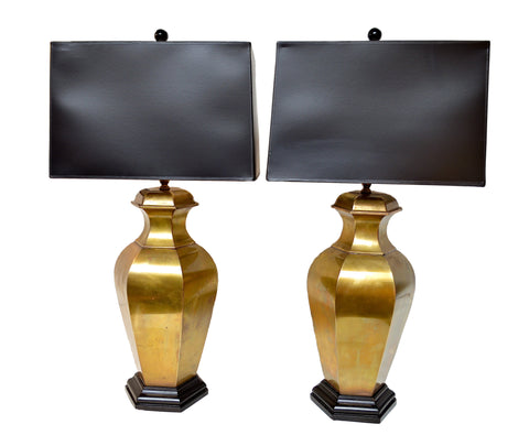 Vintage Ginger Jar Lamps of Brass