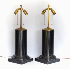 Ebonized Architectural Column Form Lamp Pair