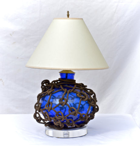 Glass Fish Float Lamp in a Vibrant Blue