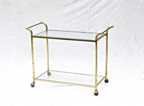 Vintage Brass Bar Cart of Faux Bamboo
