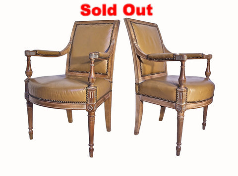 Regency Styled Fauteuil's in Cerused Oak and Leather.