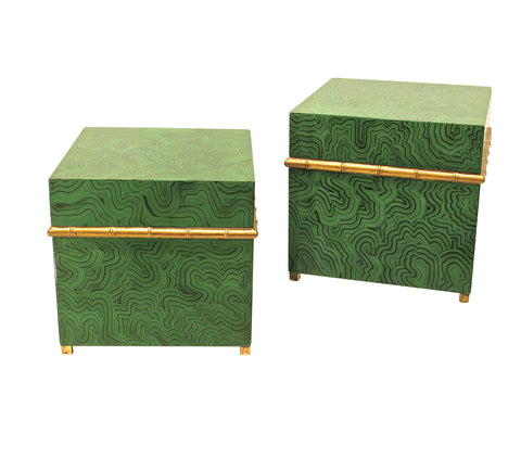 Pair of Malachite Boxes with Style to Spare