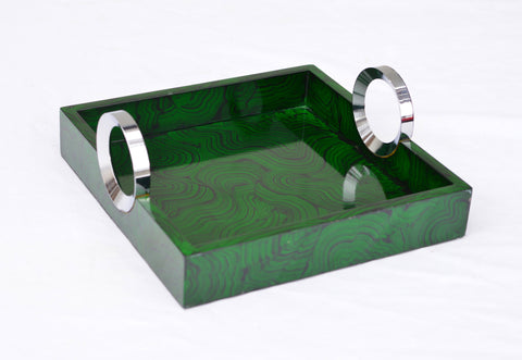 Faux Malachite Drinks Tray