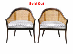 Caned Lounge Chairs By Harvey Probber