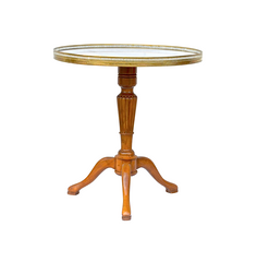 French Gueridon In Cherry with Carrara Marble Top
