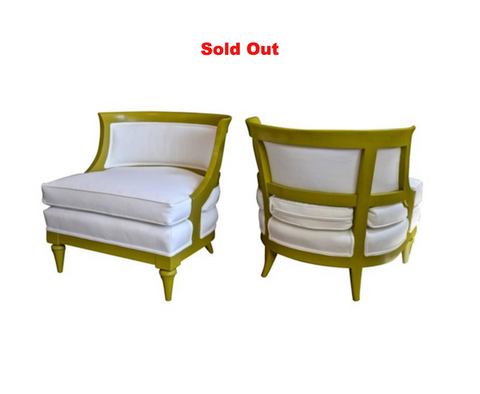 Slipper Chairs in Chartreuse and White