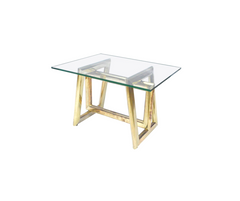 Modern Brass and Glass Side Table