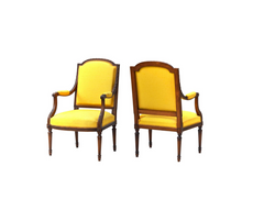 Pair of Louis XVI Chairs in Yellow