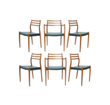 Danish Teak Dining Chairs by N.O. Moller, Set of 6